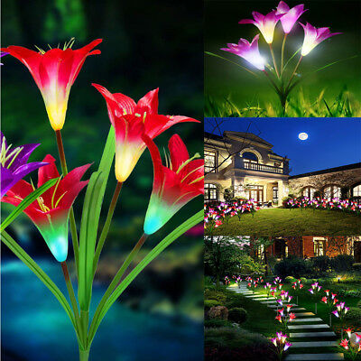 Solar Power Flower Garden Lily Landscape Yard Red Stake 4 LED Lamp Light Decor
