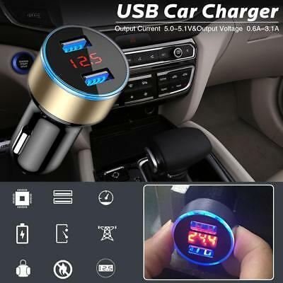 UK Dual USB 12V-24V Car Fast Charger Adapter LED Display Fast Charging For Phone