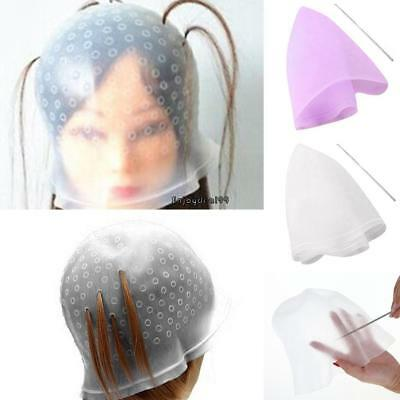 Reusable Silicone Hair Coloring Tools Highlighting Dye Cap with Metal OO55