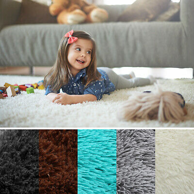 Modern Fluffy Rugs Shaggy Area Rug Anti-Skid Carpet Floors Mat Dining Room Home
