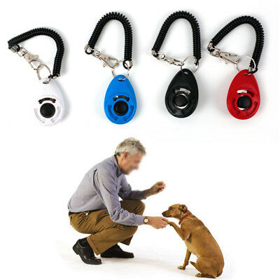 Pet Dog Cat Puppy Training Click Keyring Clicker Trainer Obedience Aid Click