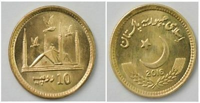"""Pakistan 2016, Rs 10 """"Newly Issued Regular Coin with Doves, Faisal Masjid"""" UNC"""
