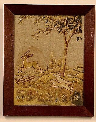 Antique heraldic hand stitched tapestry HUNTING SCENE stag dogs needlework 1800s