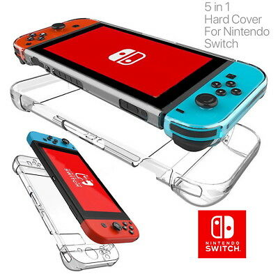 5-in-1 Whole Set Clear Shockproof Hard Protective Case Cover For Nintendo Switch