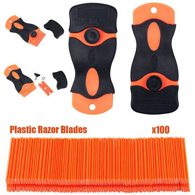 100 Plastic Razor Blade With 2 Scraper Edge Stickers Paint Clean Water Wiper UK