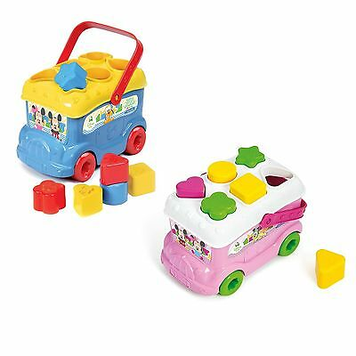 Disney Minnie OR Mickey Shape Sorter Bus Disney Baby First Toy Toddler NEW
