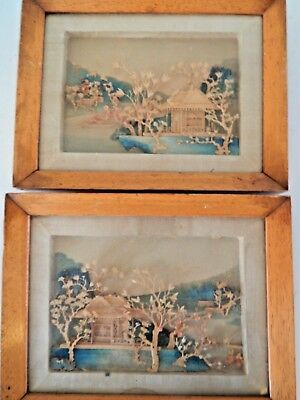 Pair of Vintage Japanese Cork Diorama Framed Pictures
