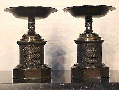 Big antique French Empire pair bronze urns cassolettes tazzas Napleon 1830 vases