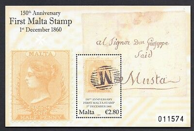 Malta 2010 Anniversary of First Stamp Miniature Sheet SG MS1681 Unmounted Mint