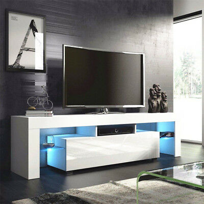 TV Unit Stand Cabinet High Gloss Fronts Matt Body Home Furniture FREE RGB LED UK