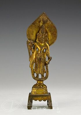 Antique Chinese Asian Gilt Bronze Statue Of Standing Figures On Plinth