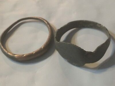 A50 Ancient Artifact Lot of Roman Viking Bronze Finger Rings 9th-19th century