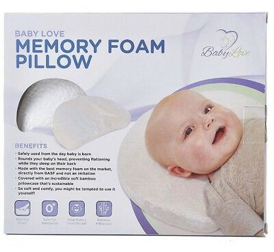 Newborn Baby Pillow, Memory Foam Cushion for Flat Head Syndrome Prevention