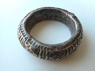 Old Coin Silver Hollow Tribal Bracelet Bangle Laos SE Asia
