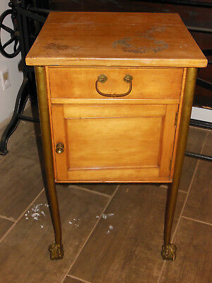 Antique brass claw foot night stand dresser european french very unique
