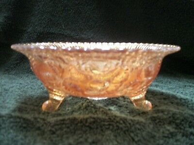 Vintage Marigold Carnival Glass 3 Footed Candy Dish Bowl Rose Pattern