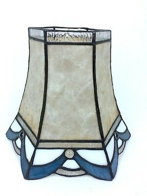"""Vintage Tiffany Style Stained Glass Lamp Shade- Beige, Blue and White 10.5"""""""