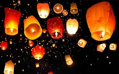 50pcs Fly Lanterns Chinese Paper Wish Lamp Sky Candle Flying Fire Kongming