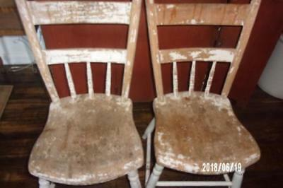 AAFA 2 Early Antique Primitive c1840 Plank Bottom Chairs -OLD Oyster White Paint