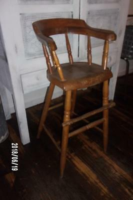 AAFA Early Antique Primitive c1840 Plank Bottom High Chair - Sq Nails