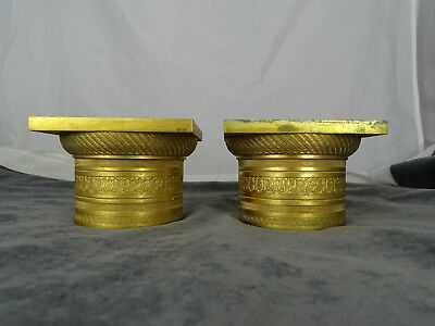 Antique French Gilt  Bronze Columns Furniture Trim Mount Decorative Hardware