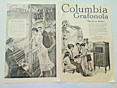 1920 Columbia Phonograph Grafonola photo vintage print ad art-ORIGINAL ADS