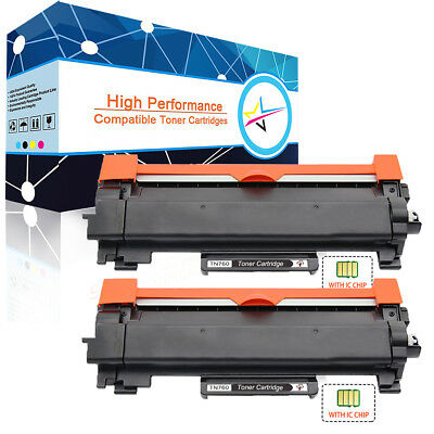 2x TN730 TN760 Toner with IC Chip for Brother DCP-L2550DW MFC-L2710DW HL-L2350DW