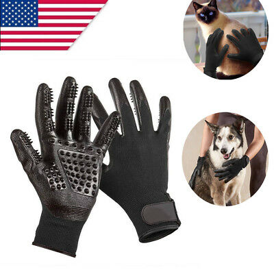 1Pair Black Pet Dog Bath Comb Cleaner Hair Remover Grooming Glove Brush Shedding