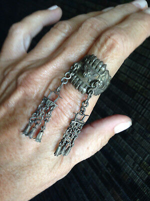 Rare Antique Chinese silver ring with chains and charm details size 7