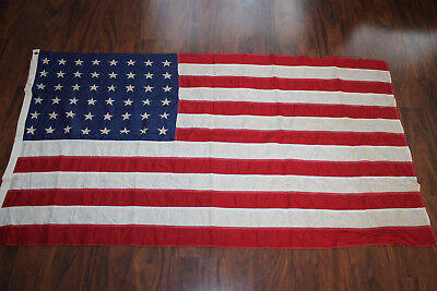 "Original Pre to Early WW2 U.S. National 48 Star Sewn Cloth Flag, 59"" x 31"" w/Tag"