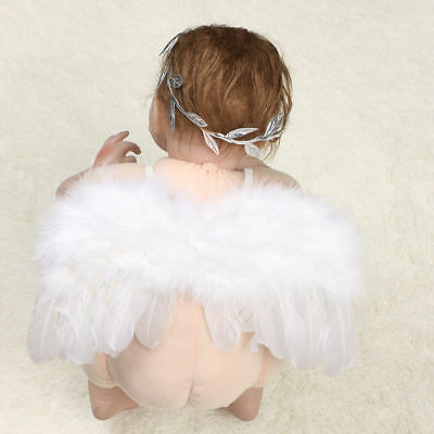Newborn Baby Feather Angel Wings Style Leaves Headband Photography Props Costume