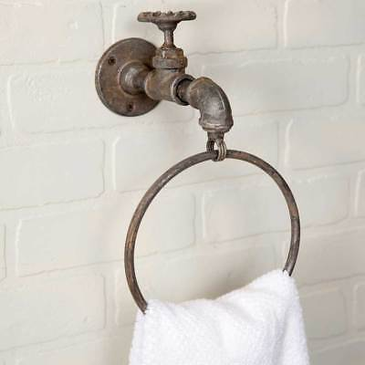 Cast Iron Faucet Spigot Towel Ring Wall Mount Farmhouse Rustic Industrial