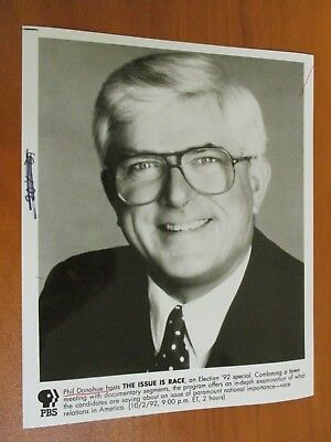 Vtg Glossy Press Photo Media Personality Phil Donahue Hosts The Issue is Race