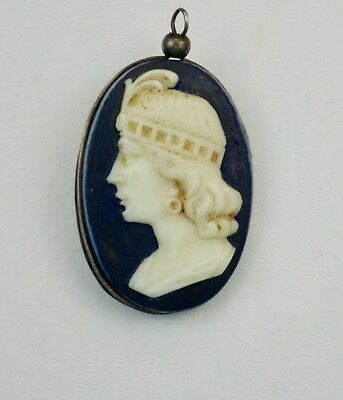Antique Hand Carved Hardstone Lady Profile Portrait Double Sided Cameo Pendant