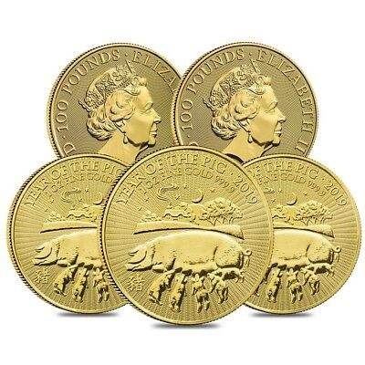 Lot of 5 - 2019 Great Britain 1 oz Gold Year of the Pig Coin .9999 Fine BU