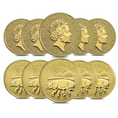 Lot of 10 - 2019 Great Britain 1 oz Gold Year of the Pig Coin .9999 Fine BU