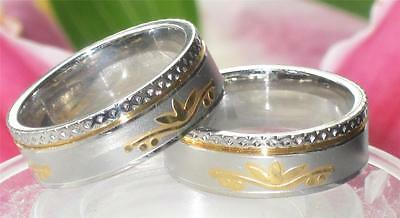 stainless steel MENS WOMENS   7MM 18KT ROLLED GOLD WEDDING BAND RING str270 WIDE