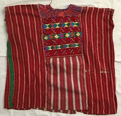 Vintage Red Guatemalan Huipil Hand Woven & Embroidered Mexican Shirt/Art Work