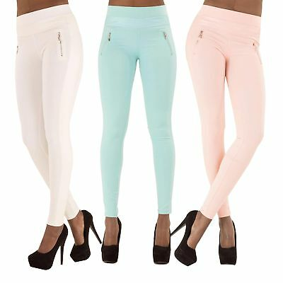 SALE! WOMEN'S SEXY FIT LEGGINGS White Beige Blue Pink Trousers Pants SIZE 10-14