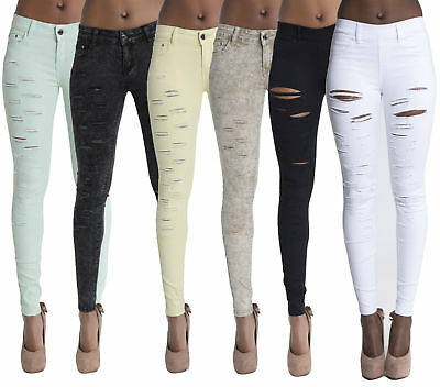 Womens Ripped Jeans Ladies knee Ripped Skinny jeans Slim Fit Jeggings SIZE 6-14
