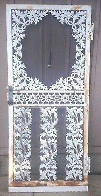 Vintage cast iron metal Door~White Ornate Acorn Leaf~Architectural Salvage-HTF!