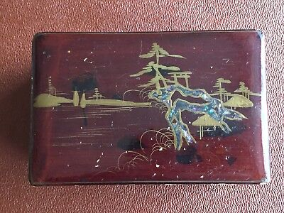 Antique/Vintage Japanese Lacquered Jewellery Box Mother of Pearl Inlay