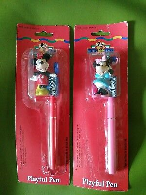 Vintage 80's Mickey & Minnie Mouse Disney Pens Necklace set Lot of 2 Unopened