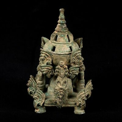 "Rare 19th Century Antique Bronze Khmer Meditation Buddha Stupa - 14cm/6"" Tall"