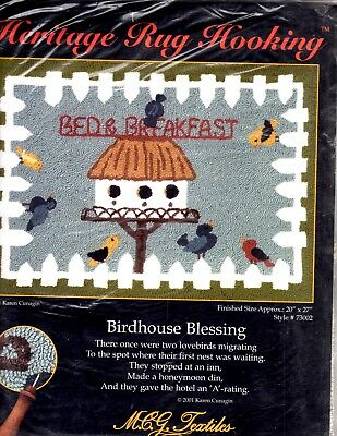 Birdhouse Blessing Bed & Breakfast Heritage Rug Hooking MCG Textiles 20X27 Inch