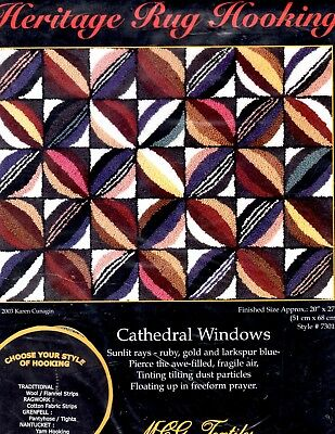 Cathedral Windows Heritage Rug Hooking MCG Textiles Linen Burlap Ragwork NEW
