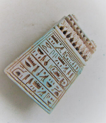 Ancient Egyptian Glazed Faience Funerary Plaque With Heiroglyphics
