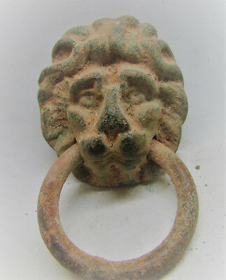 Circa 300-400Ad Roman Era Bronze Casket Mount. Lion Head. Intact. Very Rare