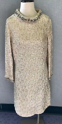 Vintage 1950's Kramer's New Haven Gold Lame Cocktail Dress Beaded Accents Sz XS