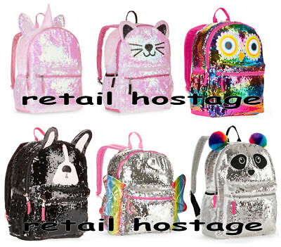 "2-Way Sequins Critter 16"" Backpack Push Pull Color Flip Unicorn Panda Owl Kitty"